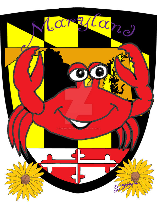Maryland comic crab with sheild and flower