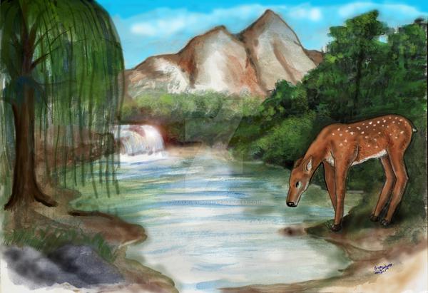 Deer at Water's edge by DarkRubyMoon