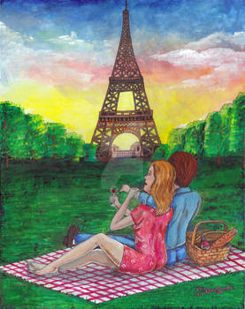 Picnic in Paris under Eiffel Tower