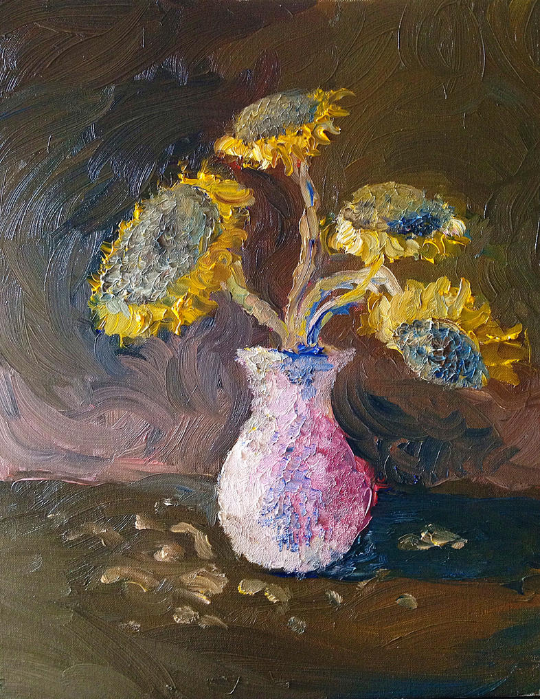 Mrtva priroda Oil_sunflowers_by_vlstone-d4tef1s