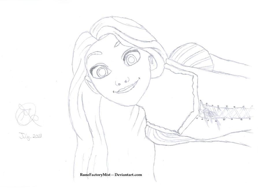 Rapunzel Lineart : Tangled rapunzel lineart by runefactorymist on deviantart