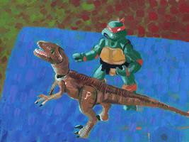 Velociraptor and Michelangelo