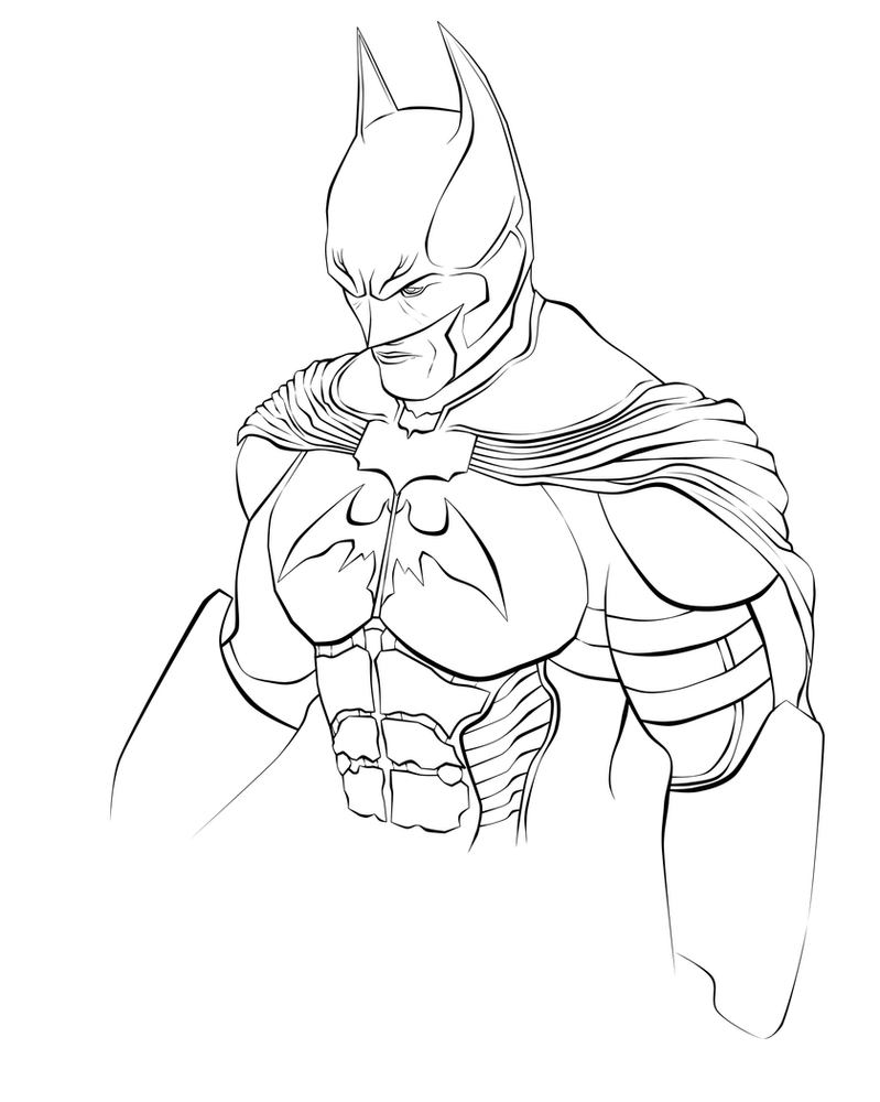 Line Art Sketch : Batman line art sketch by renixis on deviantart