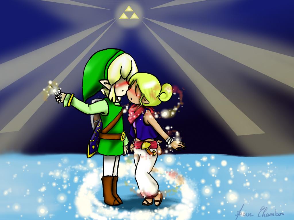 comission link and tetra kiss by spirit zelda97 - Link Et Zelda