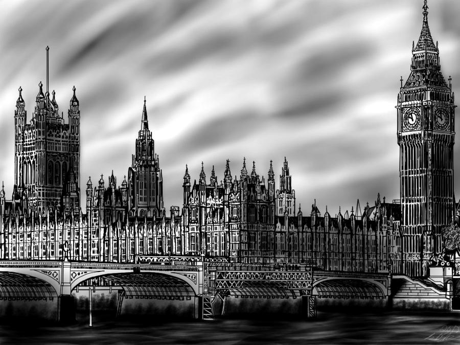 Realistic big ben drawing