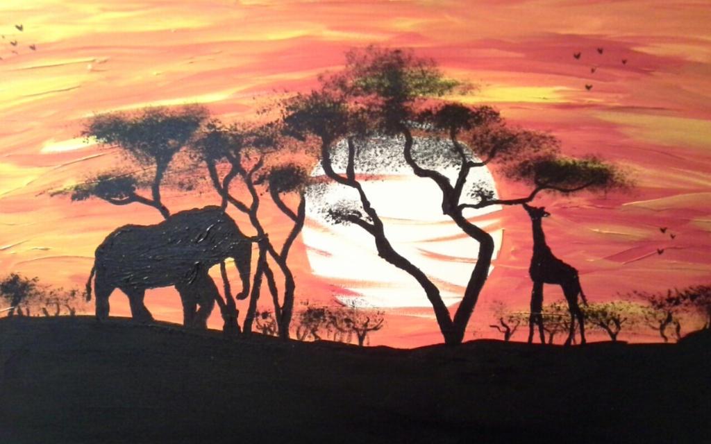 Colorful Acrylic Giraffe Painting