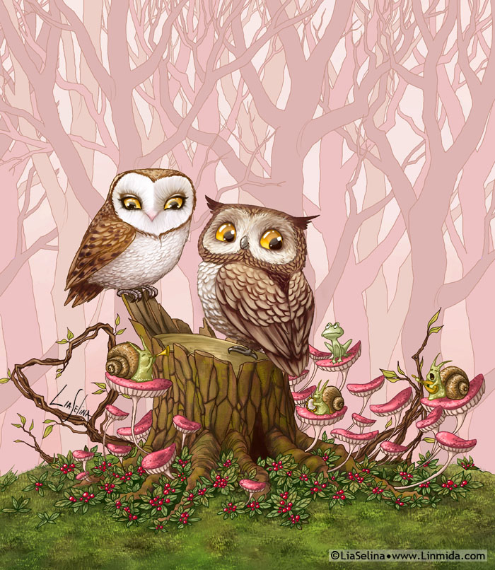Cute owl love drawing - photo#28