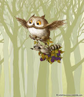 Owl and Racoon by LiaSelina