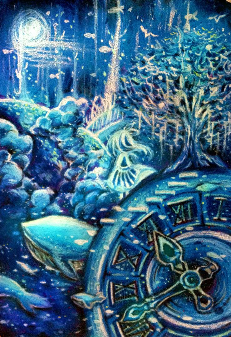 Oil Pastels-My Ocean by DrawHui
