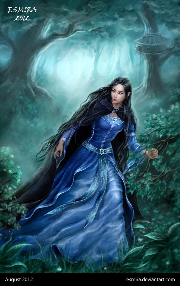 Luthien is running away from Doriath by Esmira