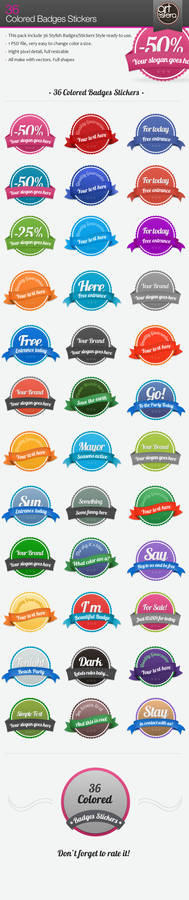 36 Colored Badges