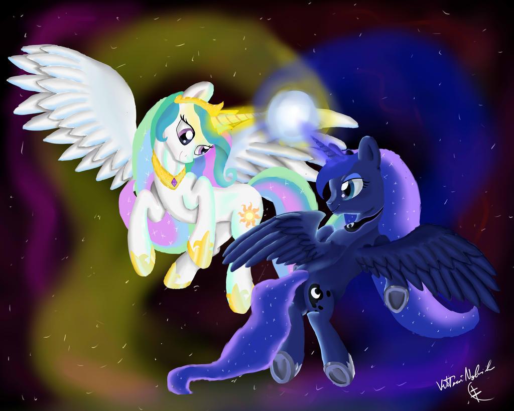 Princess Celestia and Princess Luna by VittorioNobile