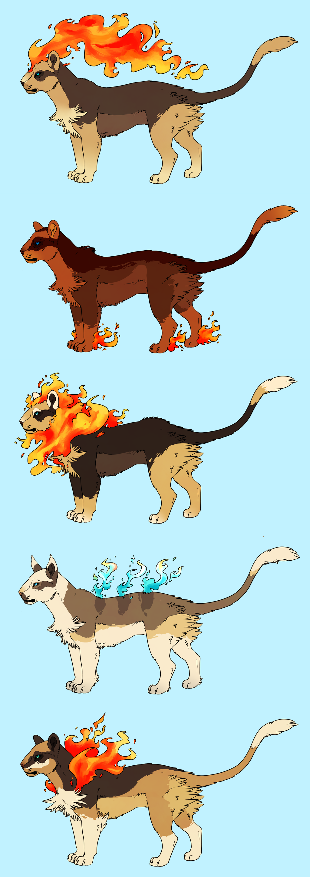 Pyroar variants by susiron on deviantart