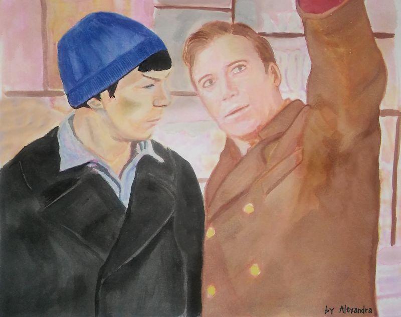 Spock/Kirk City on Edge of Forever by HelloBlueMeetsGreen