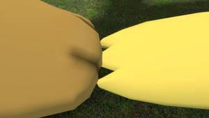 Gmax Pikachu and Gmax Eevee's Feet Touching