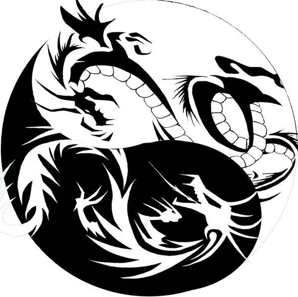 yin yang dragon tiger tribal. Black Bedroom Furniture Sets. Home Design Ideas