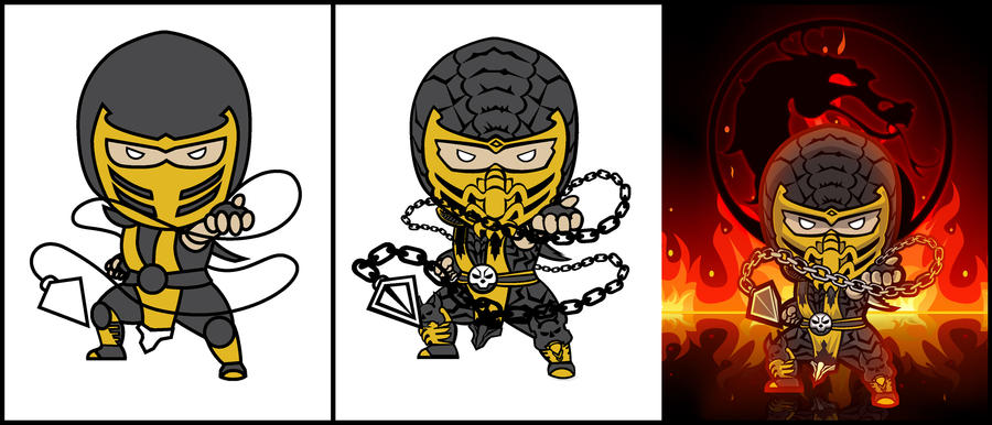 Mortal Kombat 9 Scorpion - Process by rei-baahk on DeviantArt