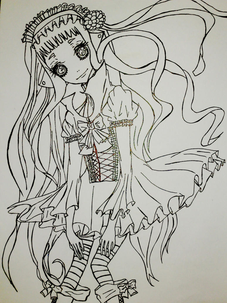 D Line Drawings Value : Gothic anime doll lineart by franeechan on deviantart