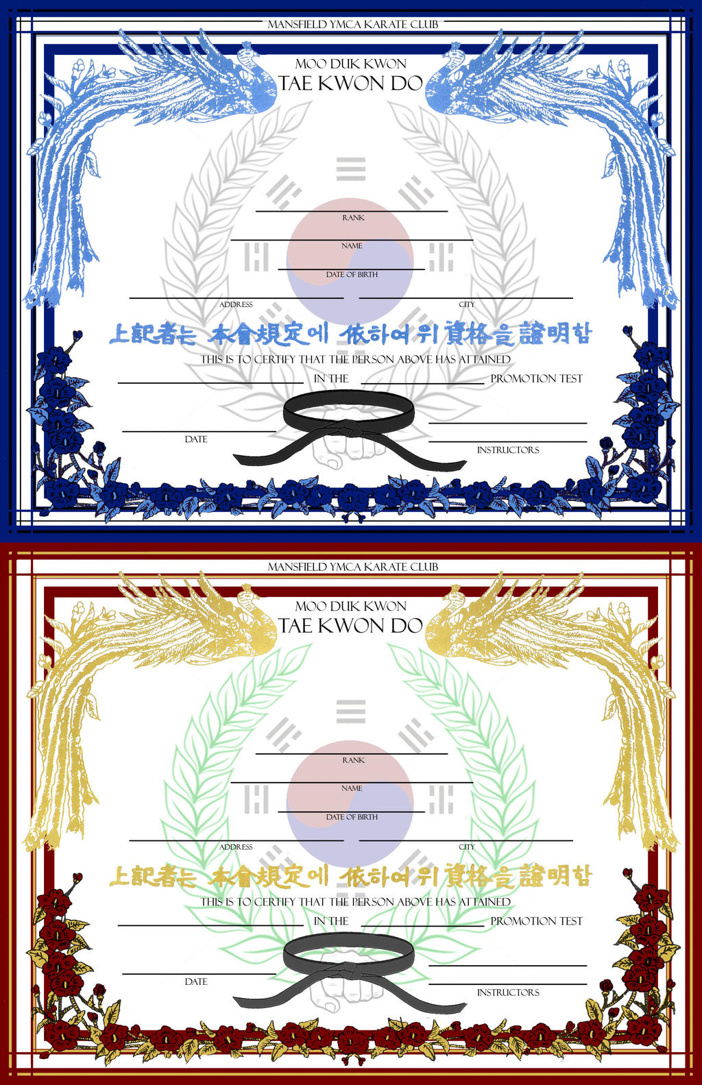 Belt certificate template by gravityarchangel on deviantart for Martial art certificate templates free