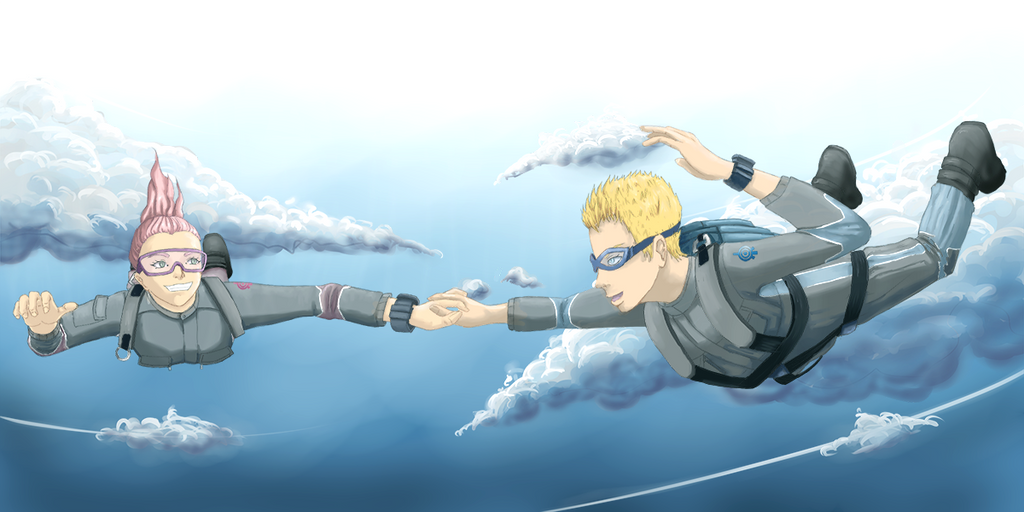 Aelita and Jeremy skydiving love by Atmu