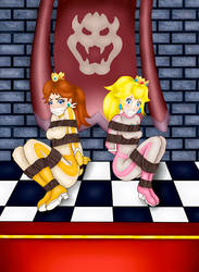 Princesses Daisy and Peach in distress by Atmu