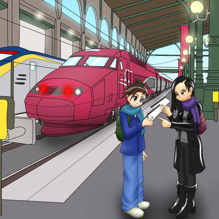 Ulrich and Yumi train travel by Atmu