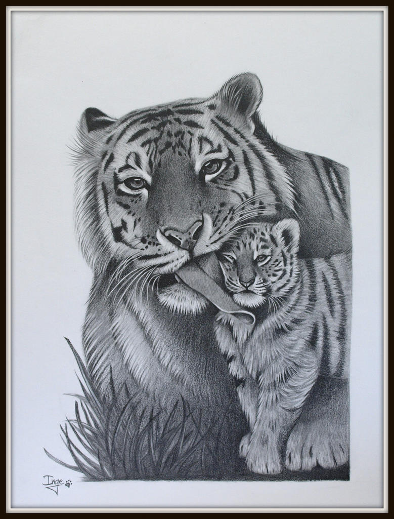 Tiger mother and cub by IngeLammers