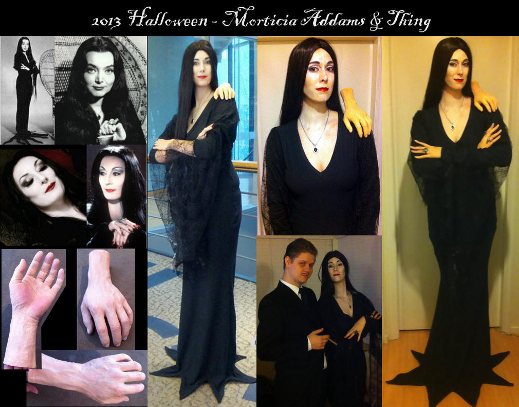 Morticia Addams and Thing by Kairillia