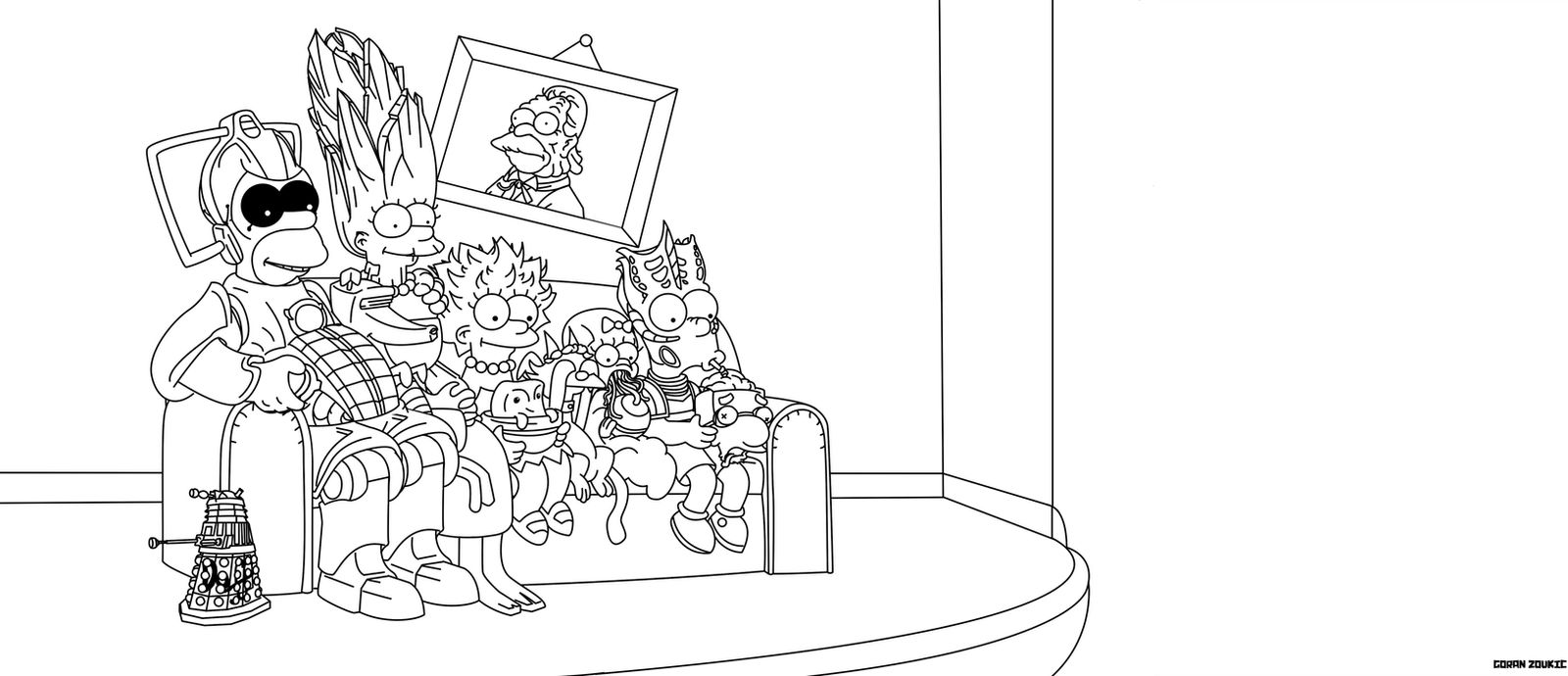 Doctor Who - Simpsons Couch Gag (Coloring Book Ver by belgoran