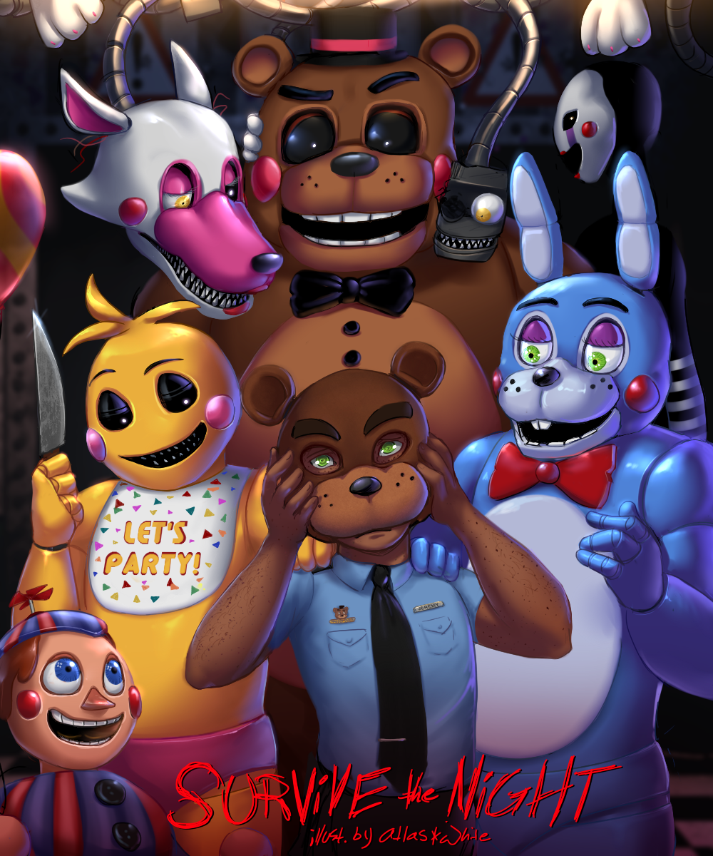 Fnaf survive the night by atlas white d8w9w36 png