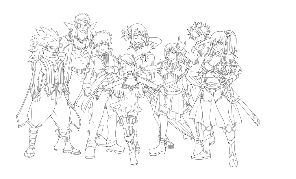 Line Art Group : Fairy tail line art by kerco on deviantart