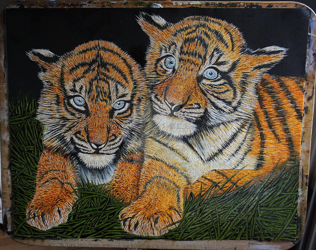 tiger cubs by azzadawn