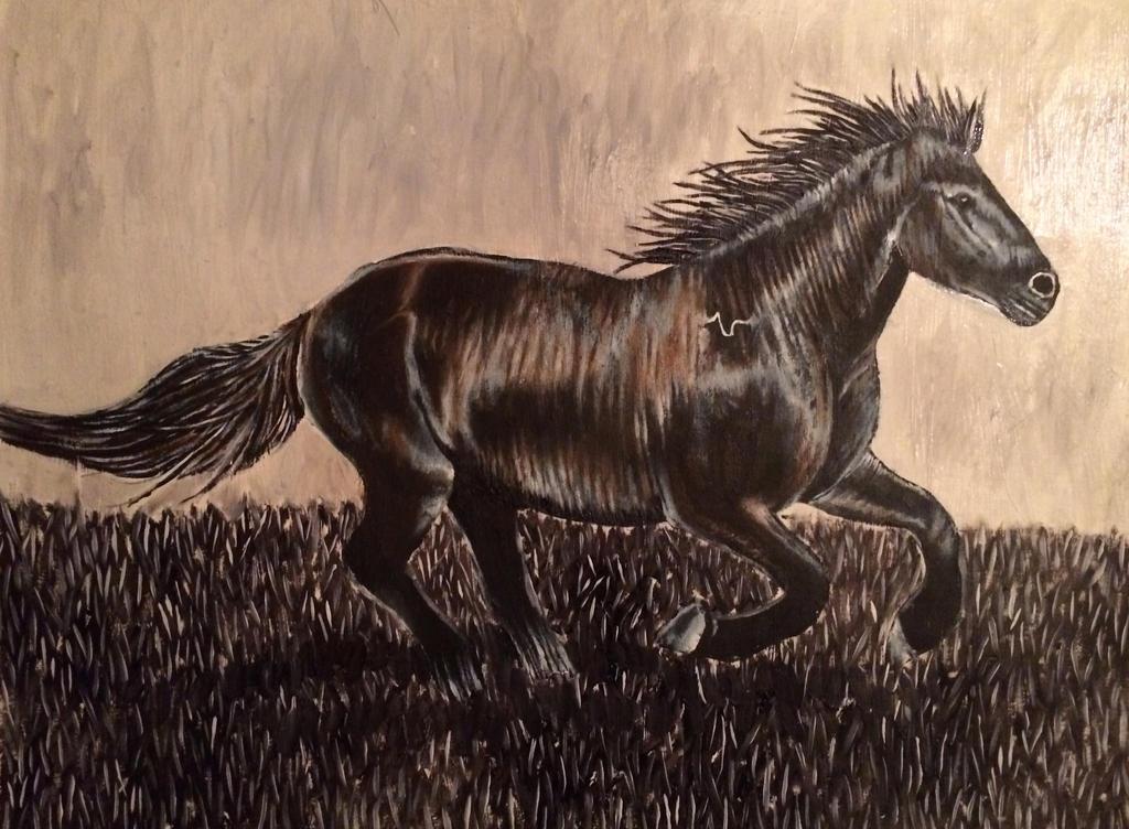 black horse by azzadawn