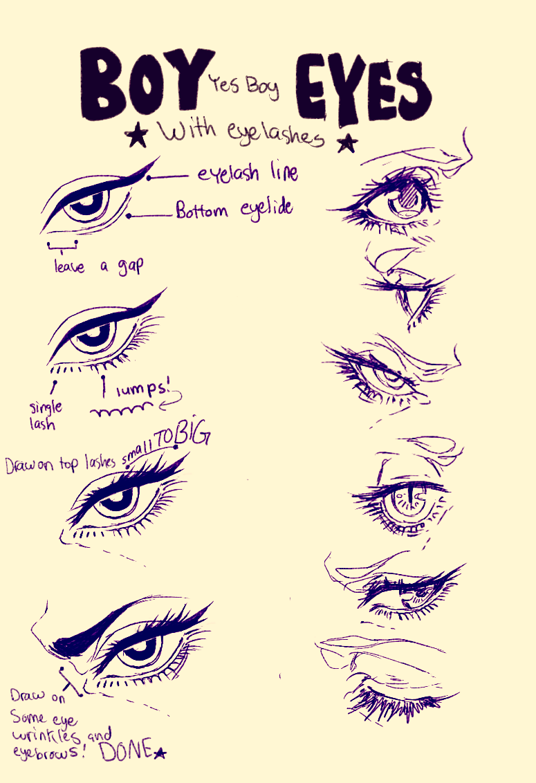 how to draw closed eyes male