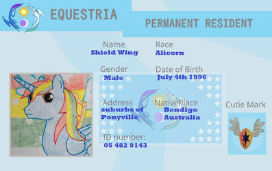Shield Wing's Equestria Permanent Resident Card