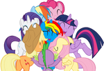 Mane 6 hugging Royal Strength by lachlancarr1996