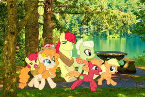 Apple Family off for a picnic