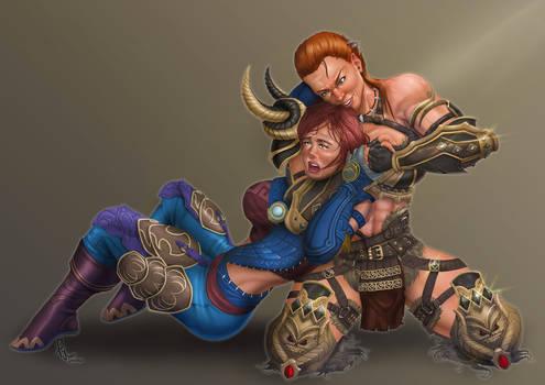 Commission - Barbarian VS Dancer