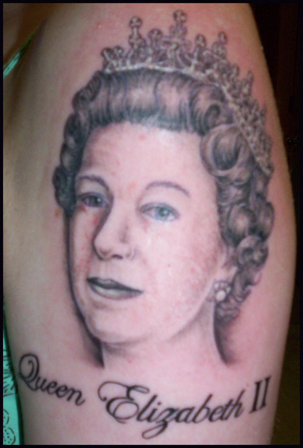 Line Drawing Of Queen Elizabeth Ii : Queen elizabeth ii tattoo by hellcatmolly on deviantart