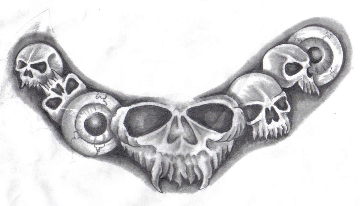 Skull necklace by hellcatmolly on deviantart for Necklace tattoo designs