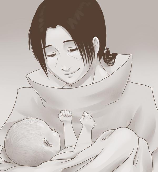 Itachi and littke Sasuke by Piromanova