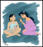 Disney Sleepover - Jasmine and Mulan (Revamped!) by ADQuatt