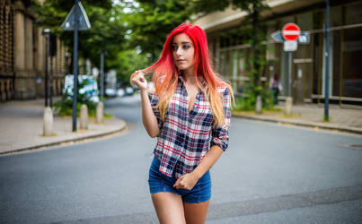 Red Head Girl Street Shooting