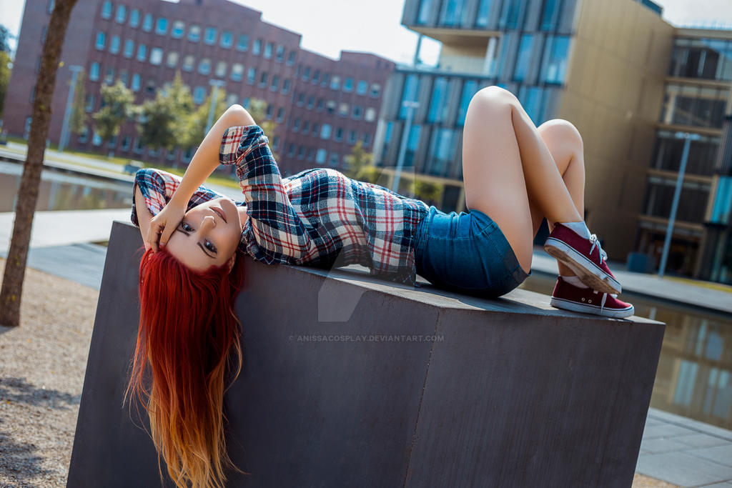 Red Head Girl Street Shooting by AnissaCosplay