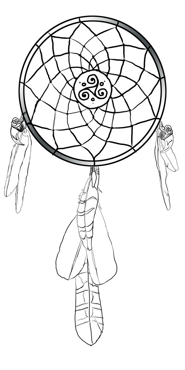 Dream catcher tattoo coloring pages coloring pages for Dreamcatcher tattoo template