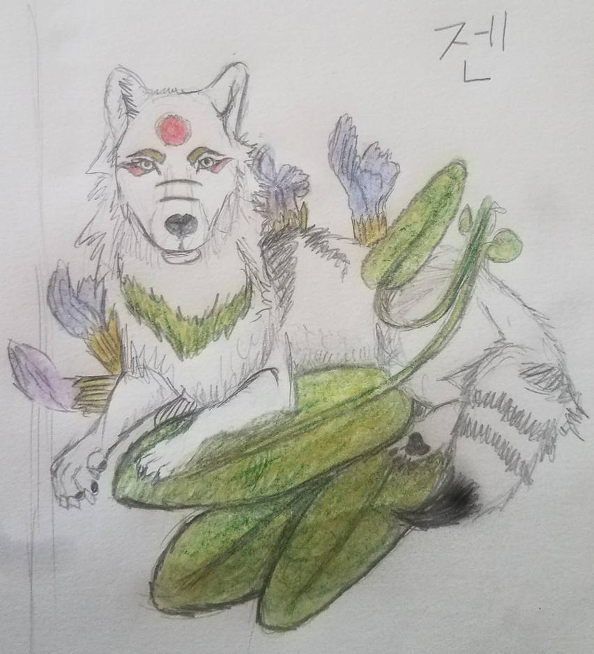 Wolf in Sage by JennOkami