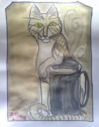 Coffee Cat Painting