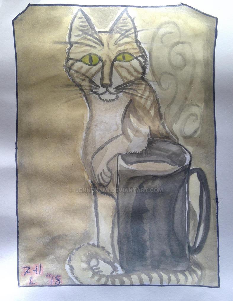 Coffee Cat Painting by JennOkami