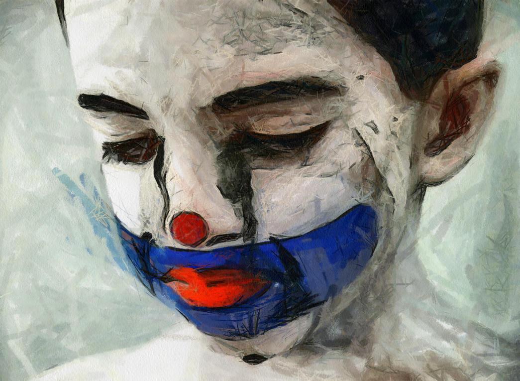Sad Clown Boy by Jessica-Art on DeviantArt  Sad Paintings