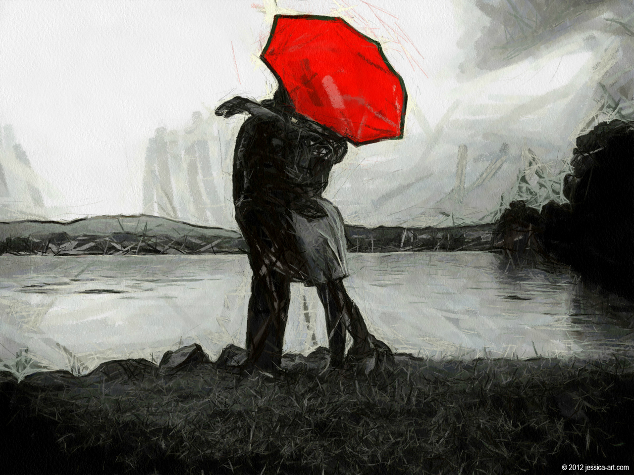 Red Umbrella by Jessica-art